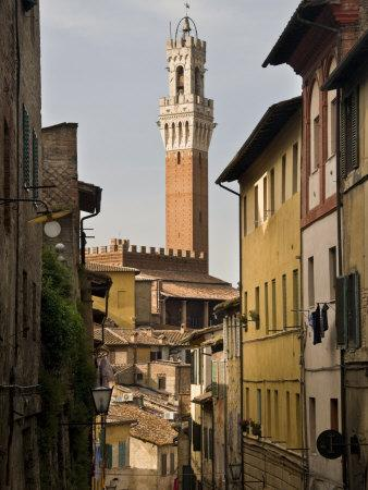 View of the Torre Del Mangia and Old Streets in Siena, Tuscany, Italy, Europe