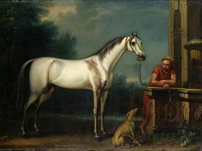 "Lord Oxford's ""Bloody-Shouldered Arabian"" Held by a Groom in Arabian Dress by John Wootton"