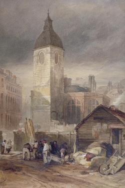 Demolition of the Church of St Benet Fink, City of London, 1844 by John Wykeham Archer