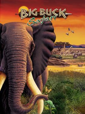 Big Buck Safari Elephant Cabinet Art  with Logo by John Youssi