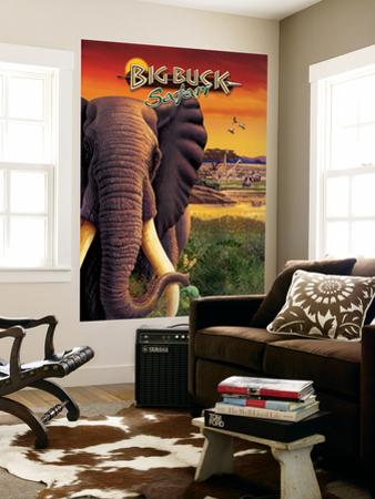 Big Buck Safari Elephant Cabinet Art  with Logo by John Youssi