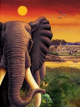 Big Buck Safari Elephant Cabinet Art by John Youssi