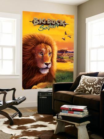 Big Buck Safari Lion Cabinet Art with Logo by John Youssi