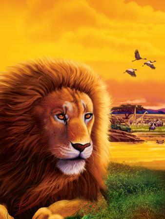 Big Buck Safari Lion Cabinet Art by John Youssi