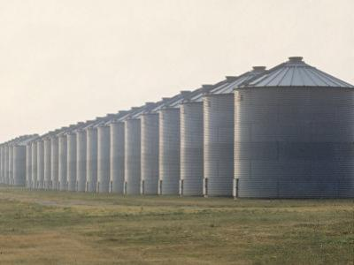 Line of Storage Bins for Corn, Unidentified Section of the Mid-West
