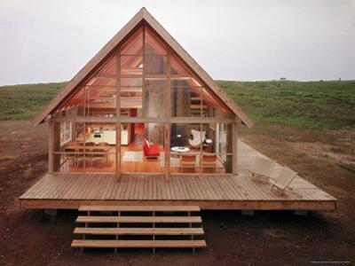 Newly Constructed Prefabricated House on Block Island with Large Wrap Around Deck by John Zimmerman