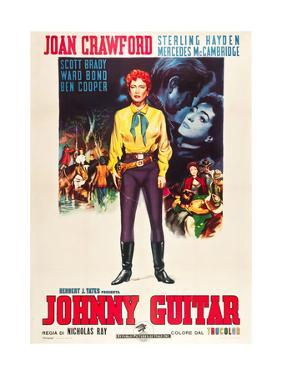 JOHNNY GUITAR, Joan Crawford on Italian poster art, 1954.