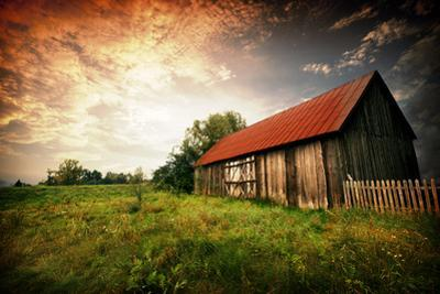Sunset by an Old Barn by johnnychaos