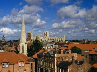 City Buildings with York Minster Cathedral in Background, York, United Kingdom