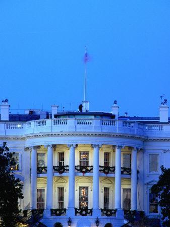 Exterior of White House at Dusk, Washington Dc, USA