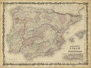 Johnson's Map of Spain & Portugal
