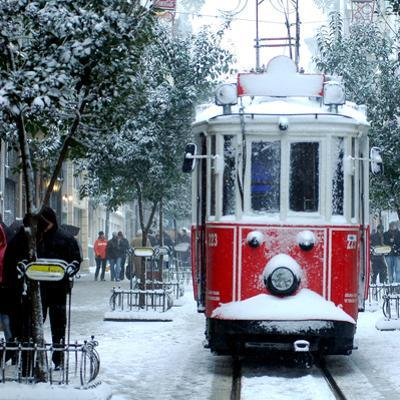 Close up Shot of Tramway Covered with Snow in Istanbul by jokerpro