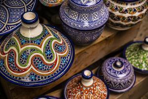 Fez, Morocco. Colorful pottery tagines, tajines by Jolly Sienda