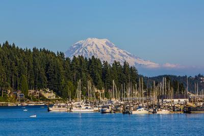 Gig Harbor, Washington State. Mount Rainier over Gig Harbor marina and boats
