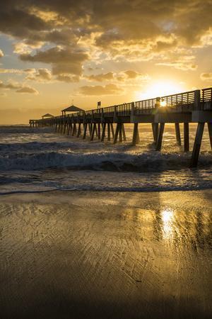 Juno Beach, Palm Beach County, Florida. Sunrise and high surf.
