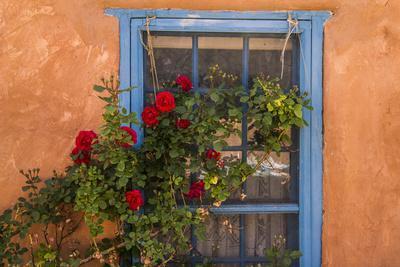 Santa Fe, New Mexico. Blue painted lattice wooden window