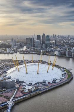 Aerial View from Helicopter, Canary Wharf and O2 Arena, London, England by Jon Arnold