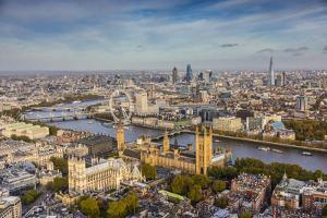 Aerial View from Helicopter, Houses of Parliament, River Thames, London, England by Jon Arnold