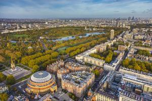 Aerial View from Helicopter,Royal Albert Hall and Hyde Park, London, England by Jon Arnold