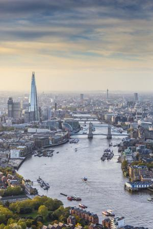 Aerial View from Helicopter, the Shard, River Thames and the City of London, London, England