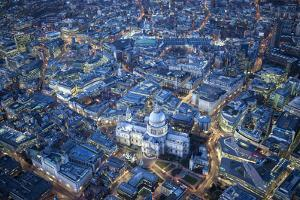 Aerial View over St. Paul's Cathedral, at Night London, England by Jon Arnold