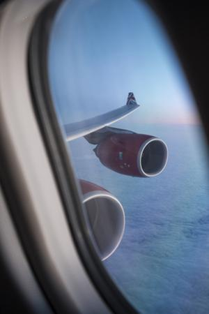 Airbus A340 Aircraft, View Out of the Window with Engine and Wing by Jon Arnold