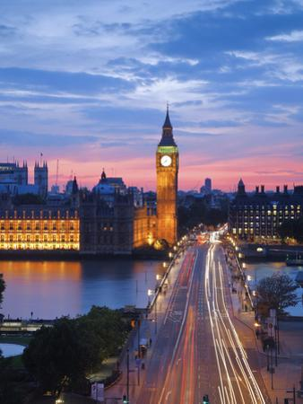 Big Ben, Houses of Parliament and Westminster Bridge, London, England, Uk
