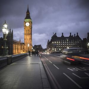 Big Ben, Houses of Parliament and Westminster Bridge, London, England by Jon Arnold