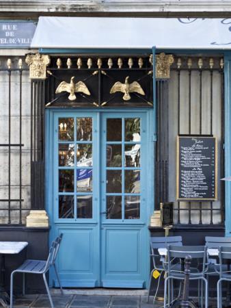 Blue Doors of Cafe, Marais District, Paris, France