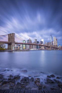 Brooklyn Bridge and Lower Manhattan/Downtown, New York City, New York, USA by Jon Arnold