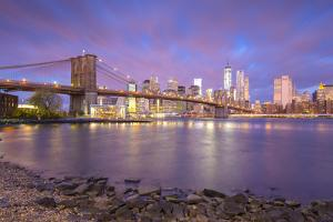 Brooklyn Bridge and Lower Manhattan/Downtown, New York City, New York, USA by Jon Arnold