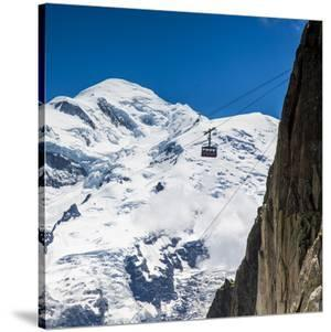 Cable Car in Front of Mt. Blanc from Mt. Brevent, Chamonix, Haute Savoie, Rhone Alpes, France by Jon Arnold
