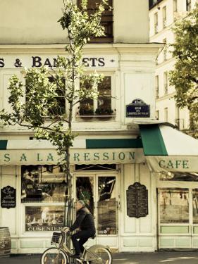 Cafe, Quai De L'Hotel De Ville, Marais District, Paris, France by Jon Arnold