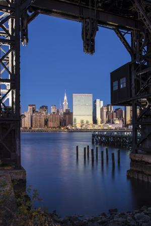 Chrysler and Un Buildings and Midtown Manhattan Skyline from Queens, New York City, New York, USA