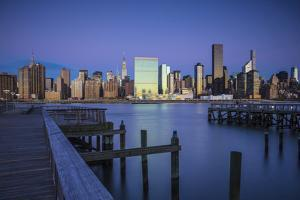 Chrysler and Un Buildings and Midtown Manhattan Skyline from Queens, New York City, New York, USA by Jon Arnold