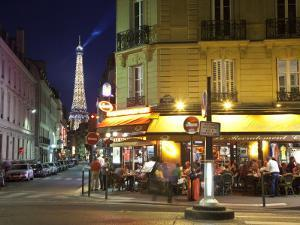 Eiffel Tower and Cafe on Boulevard De La Tour Maubourg, Paris, France by Jon Arnold