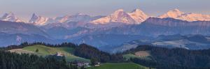Emmental Valley and Swiss Alps in the Background, Berner Oberland, Switzerland by Jon Arnold