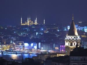 Galata Tower and Blue Mosque (Sultan Ahmet Camii), Sultanahmet, Istanbul, Turkey by Jon Arnold