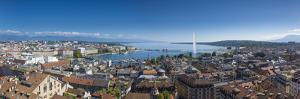 Jet D'Eau on Lake Geneva and City Skyline, Geneva, Switzerland by Jon Arnold