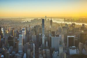 Midtown Manhattan and Lower Manhattan Behind, New York City, New York, USA by Jon Arnold