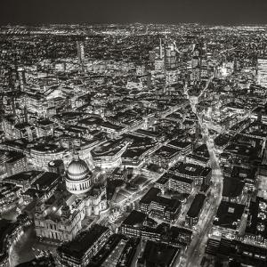 Night Aerial View of St. Paul's and City of London, London, England by Jon Arnold