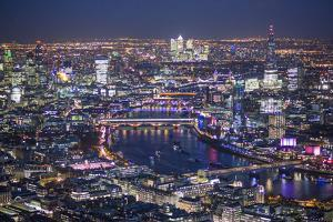 Night Aerial View over River Thames, City of London, the Shard and Canary Wharf, London, England by Jon Arnold