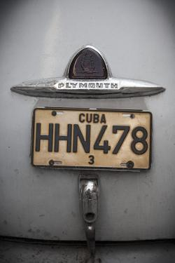 Number Plate of Classic 50s Car, Havana, Cuba by Jon Arnold