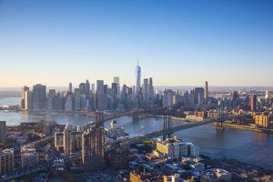 One World Trade Center, Manhattan and Brooklyn Bridges, Manhattan, New York City, New York, USA by Jon Arnold