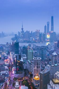 Pudong Skyline and East Nanjing Road, Shanghai, China by Jon Arnold