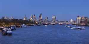 River Thames and City of London, London, England by Jon Arnold