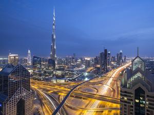 Sheikh Zayad Road and Burj Khalifa, Downtown, Dubai, United Arab Emirates by Jon Arnold