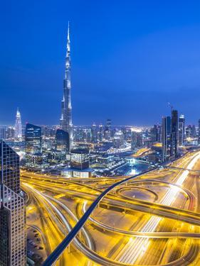 Sheikh Zayad Road and Burj Khalifa, Downtown, Dubai, United Arab Emirates by Jon Arnold