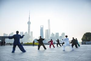 Tai Chi on the Bund (With Pudong Skyline Behind), Shanghai, China by Jon Arnold