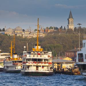 Topkapi Palace and Ferries on the Waterfront of the Golden Horn, Istanbul, Turkeyistanbul, Turkey by Jon Arnold
